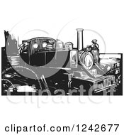 Clipart Of A Black And White Woodcut WWI Train And Engineers Royalty Free Vector Illustration by xunantunich