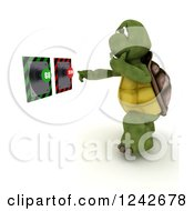 Clipart Of A 3d Tortoise Thinking In Front Of Go And Stop Buttons Royalty Free Illustration
