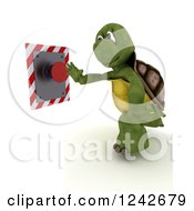 Clipart Of A 3d Tortoise Pushing A Red Button Royalty Free Illustration