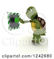 Clipart Of A 3d Tortoise Pushing A Green Button Royalty Free Illustration