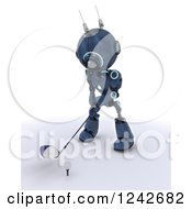 Clipart Of A 3d Blue Android Robot Golfing 5 Royalty Free Illustration