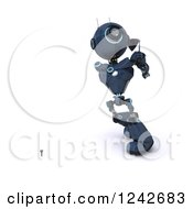 Clipart Of A 3d Blue Android Robot Golfing 6 Royalty Free Illustration