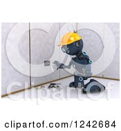 Clipart Of A 3d Blue Android Construction Robot Installing An Electrical Socket 3 Royalty Free Illustration