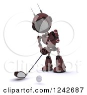 Clipart Of A 3d Red Android Robot Golfing 5 Royalty Free Illustration