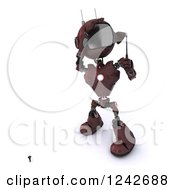 Clipart Of A 3d Red Android Robot Golfing 6 Royalty Free Illustration
