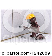 Clipart Of A 3d Red Android Construction Robot Installing An Electrical Socket 3 Royalty Free Illustration