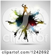 Clipart Of Silhouetted Dancers With Colorful Flares On A Black Grunge Splatter Over Gray Royalty Free Vector Illustration
