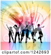 Clipart Of Black Silhouetted Dancers Over A Burst Of Colorful Lights And Flares Royalty Free Vector Illustration