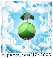 Clipart Of A 3d Grassy Green Planet With A Tree Over A Cloudy Blue Sky Royalty Free Illustration