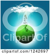 Clipart Of A 3d Grassy Green Planet With A Seedling Plant And Sunshine Cloud And Rainbow Royalty Free Illustration