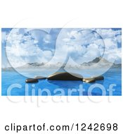 Clipart Of 3d Smooth Ocean Rocks Against Mountains And Sky Royalty Free Illustration