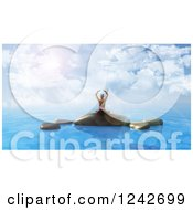 Clipart Of A 3d Woman Doing Yoga On Rocks In The Ocean Royalty Free Illustration