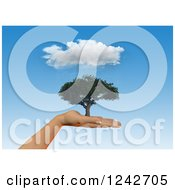 Clipart Of A 3d Human Hand Holding A Tree Under A Rain Cloud In A Blue Sky Royalty Free Illustration