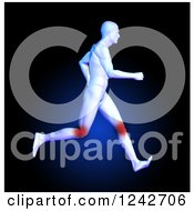 Clipart Of A 3d Running Medical Anatomy Man With Glowing Knees On Dark Blue Royalty Free Illustration