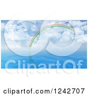 Clipart Of A 3d Rainbow Arching Over Blue Water And A Cloudy Sky Royalty Free Illustration