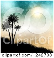 Clipart Of A Sun And Flares Shining On Silhouetted Palm Trees On A Hillside Royalty Free Vector Illustration