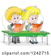 Clipart Of Blond School Children Reading At Their Desk Royalty Free Vector Illustration