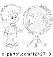 Black And White School Boy Pointing To A Globe