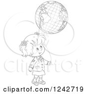 Black And White School Girl With A Globe Balloon