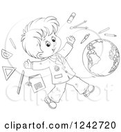 Black And White School Boy With Supplies And A Globe