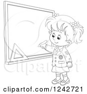 Clipart Of A Black And White School Girl Writing On A Grid Chalkboard Royalty Free Vector Illustration