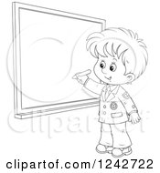 Clipart Of A Black And White School Boy Writing On A Grid Chalkboard Royalty Free Vector Illustration