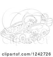 Clipart Of A Black And White Boy Sleeping In A Car Bed Royalty Free Vector Illustration