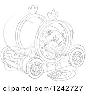 Clipart Of A Black And White Girl Sleeping In A Carriage Bed Royalty Free Vector Illustration