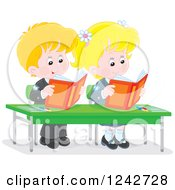 Clipart Of Blond Caucasian School Children Reading At Their Desk Royalty Free Vector Illustration