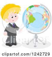 Blond Caucasian School Boy Pointing To A Globe