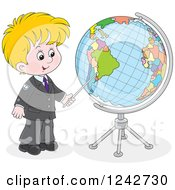 Clipart Of A Blond School Boy Pointing To A Globe Royalty Free Vector Illustration