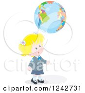 Blond Caucasian School Girl With A Globe Balloon