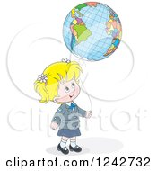 Clipart Of A Blond School Girl With A Globe Balloon Royalty Free Vector Illustration