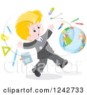 Blond Caucasian School Boy With Supplies And A Globe