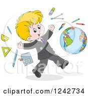 Blond School Boy With Supplies And A Globe
