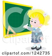 Clipart Of A Blond Caucasian School Girl Writing On A Grid Chalkboard Royalty Free Vector Illustration