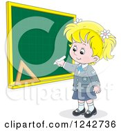 Clipart Of A Blond School Girl Writing On A Grid Chalkboard Royalty Free Vector Illustration