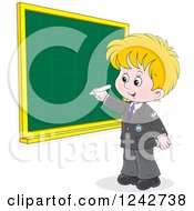 Clipart Of A Blond School Boy Writing On A Grid Chalkboard Royalty Free Vector Illustration by Alex Bannykh