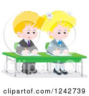 Clipart Of Blond Caucasian School Children Writing At Their Desk Royalty Free Vector Illustration by Alex Bannykh