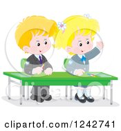 Clipart Of Blond Caucasian School Children At Their Desk Royalty Free Vector Illustration