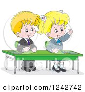 Clipart Of Blond School Children At Their Desk Royalty Free Vector Illustration