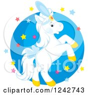White Show Pony Horse Rearing Over Stars And A Circle