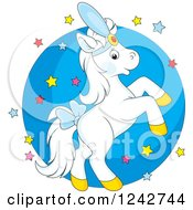 Clipart Of A White Show Horse Rearing Over Stars And A Circle Royalty Free Vector Illustration by Alex Bannykh