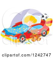 Clipart Of A Blond Caucasian Boy Sleeping In A Car Bed Royalty Free Vector Illustration