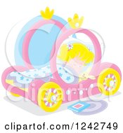 Clipart Of A Blond Caucasian Girl Sleeping In A Pink Carriage Bed Royalty Free Vector Illustration