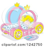 Clipart Of A Blond Girl Sleeping In A Pink Carriage Bed Royalty Free Vector Illustration