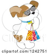 Clipart Of A Cute Puppy Dog Wearing Sunglasses And Carrying Shopping Bags Royalty Free Vector Illustration