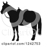 Clipart Of A Black Silhouetted Hourse In A Western Saddle Royalty Free Vector Illustration