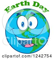 Clipart Of A Happy Smiling Earth Day Globe Character With Text Royalty Free Vector Illustration by Hit Toon