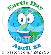 Clipart Of A Happy Smiling Earth Day Globe Character With Text 2 Royalty Free Vector Illustration